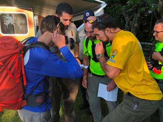 Personnel help search for Kevin Mark Lynch, a New Jersey man who went missing at the southeastern edge of the Great Smoky Mountains National Park on Saturday, July 27, 2019.