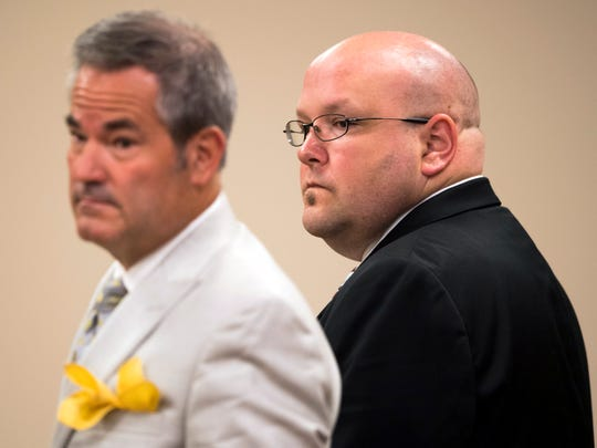 Mark Ellis, right, with attorney T. Scott Jones in Claiborne County Criminal Court on Monday, July 29, 2019.