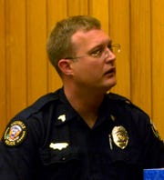 Knoxville police Lt. Travis Brasfield is shown testifying in 2008 when he was a sergeant.