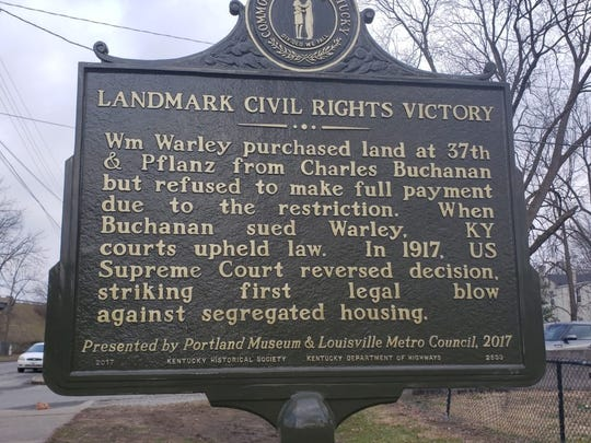 A historical marker commemorates William Warley's challenge of Louisville's residential segregation law to the U.S. Supreme Court in 1917.