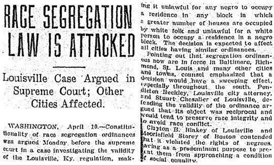 A Courier Journal story details a U.S. Supreme challenge of Louisville's race segregation law in 1917.
