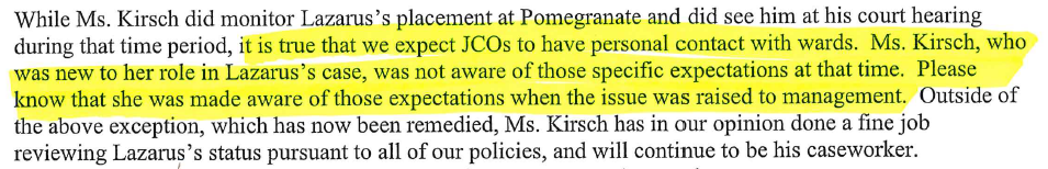 An excerpt from a letter from court administrator, George Strander, to Ms. Carter regarding Ms. Kirsch's position.