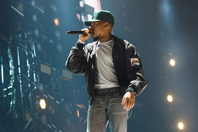 Chance the Rapper (shown performing in London last fall) will headline Fiserv Forum in Milwaukee Oct. 30.