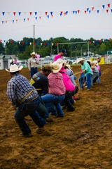 Competitors battle in the Tug-of-War competition at the 2018 Pink for Peitz Rodeo.