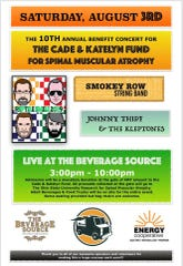 flyer for the 10th Annual Benefit Concert for the Cade & Katelyn Fund for Spinal Muscular Atrophy.