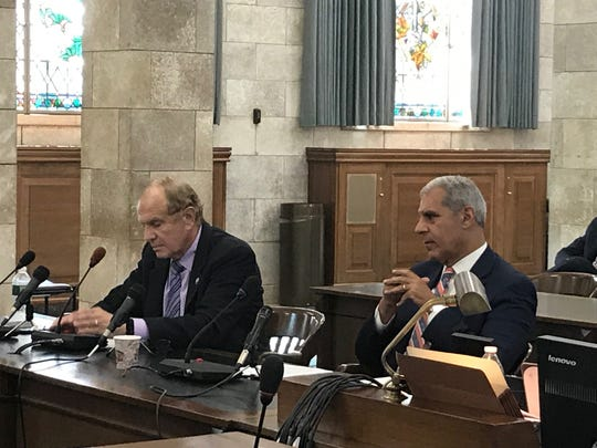 Senators Raymond Lesniak and Joe Kyrillos, who shepherded the now-expired corporate tax incentives, testify in front of a select Senate committee Monday.