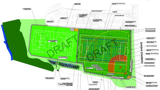 A preliminary map of improvements to Faber Field in Glen Rock