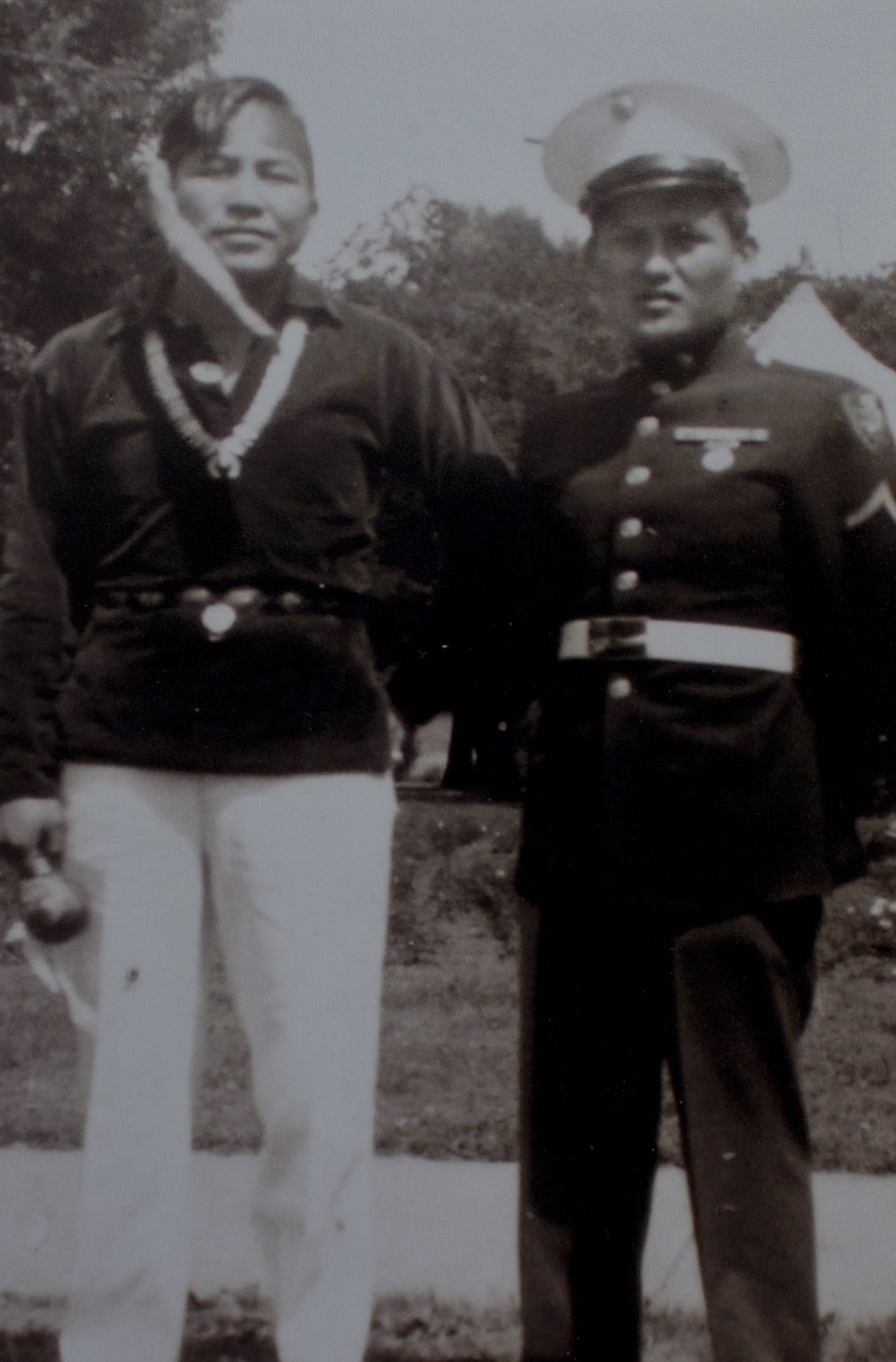Navajo Code Talker Chester Nez (right), pictured in 1946.