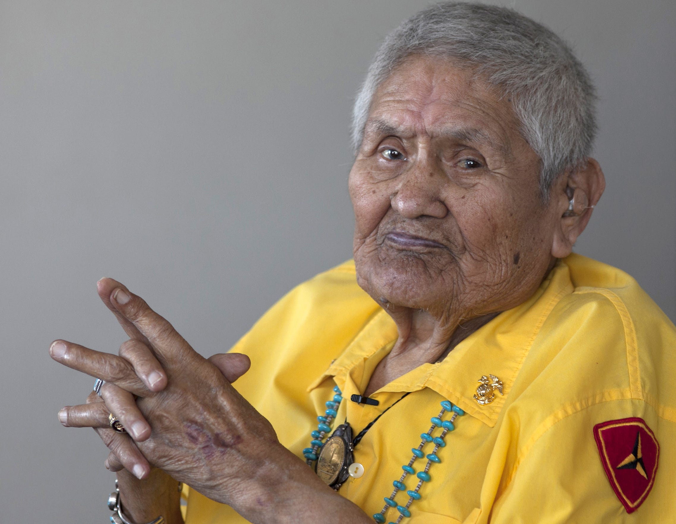 Portrait of 90-year-old Navajo Code Talker Chester Nez, taken in his  Albuquerque home on June 23, 2011. The  Code Talkers helped create an unbreakable military radio code used during World War II.
