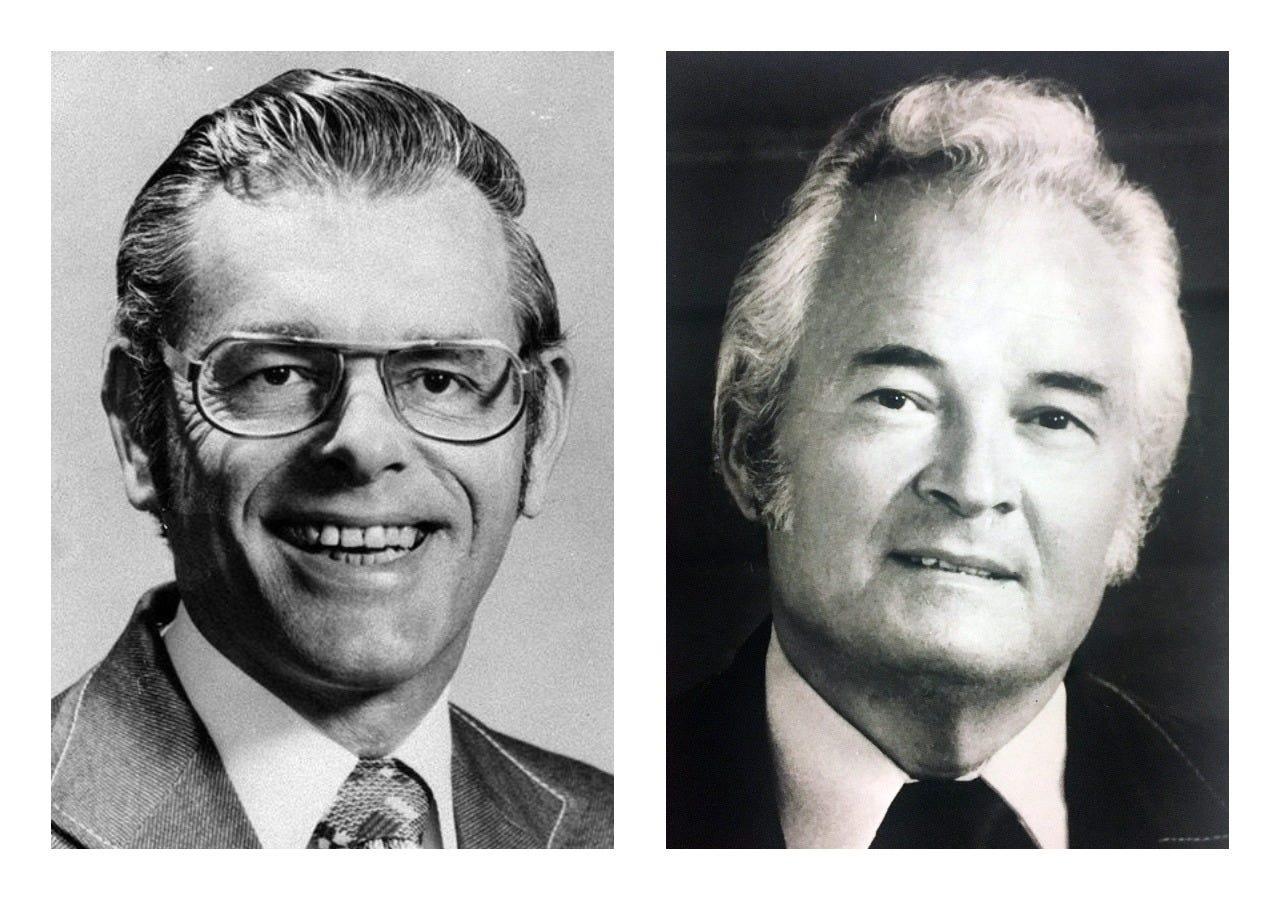 Republic reporter Don Bolles (left) and Hobo Joe's coffee shops president Herb Applegate.