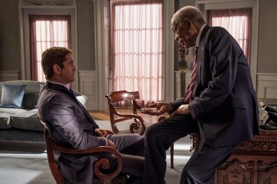 "Secret Service agent Mike Banning (Gerard Butler, left) speaks with the president (Morgan Freeman) in ""Angel Has Fallen."""