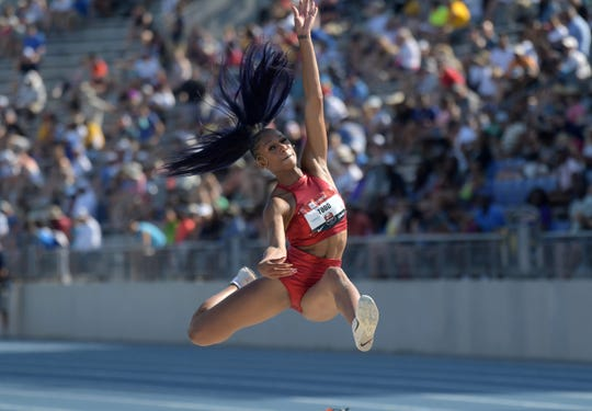 Jul 27, 2019: Jasmine Todd places second in the women's long jump at 22-3 1/2 (6.79m) during the USATF Championships at Drake Stadium.
