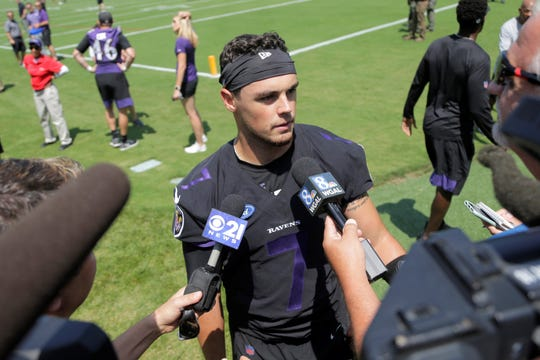 Baltimore Ravens quarterback Trace McSorley talks to reporters during NFL football training camp, Thursday, July 25, 2019, in Owings Mills, Md. (AP Photo/Julio Cortez)