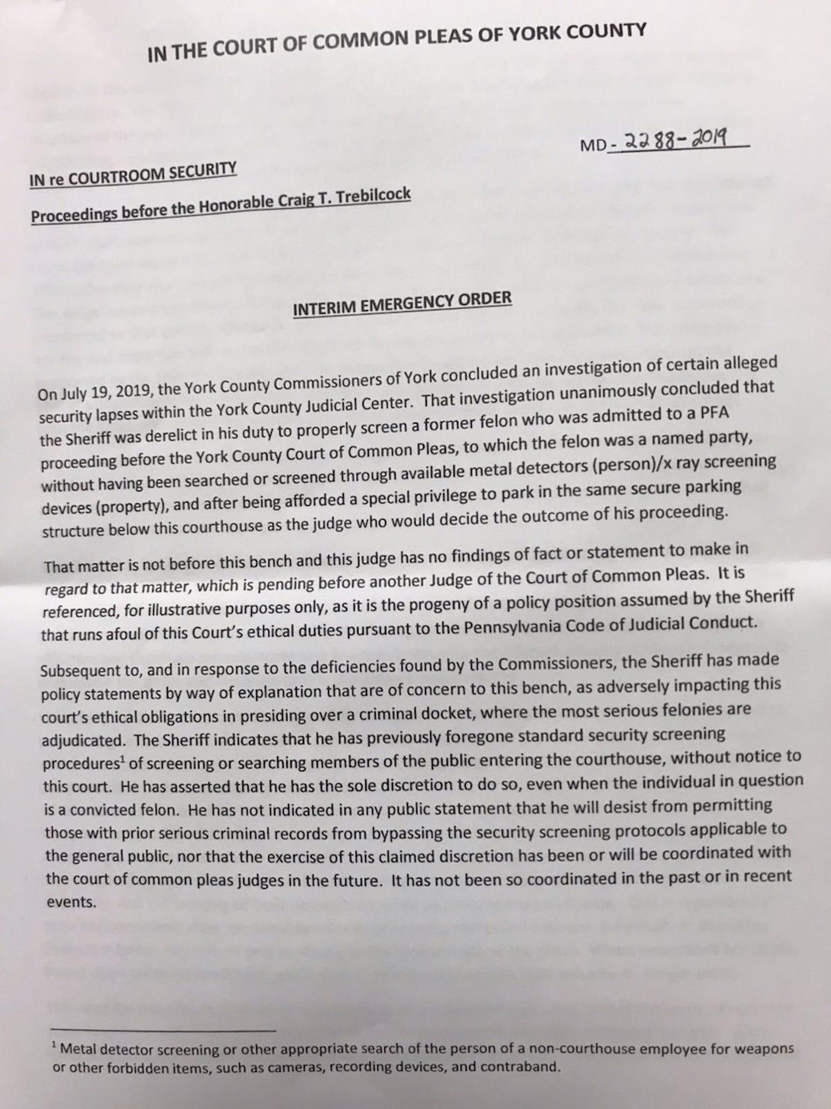 York County judge issues emergency order slamming sheriff's handling