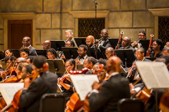Gateways Music Festival orchestra members performs in 2017 at Kodak Hall with conductor Michael Morgan and pianist Stewart Goodyear at University of Rochester's Eastman School of Music.