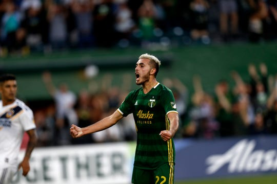Portland Timbers' Cristhian Paredes (22) reacts during the first half of an MLS soccer match against the LA Galaxy in Portland, Ore., on Saturday, July 27, 2019.