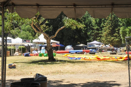 Gilroy, California — The rides and vendors remain untouched following Sunday night's shooting at the Gilroy Garlic Festival. July 29, 2019.