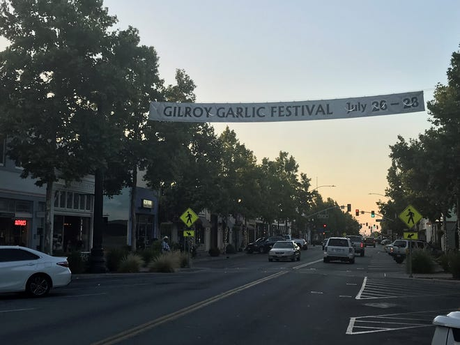 A banner invites attendees to the Garlic Garlic Festival 2019. Multiple shooting victims were reported there July 28, 2019.