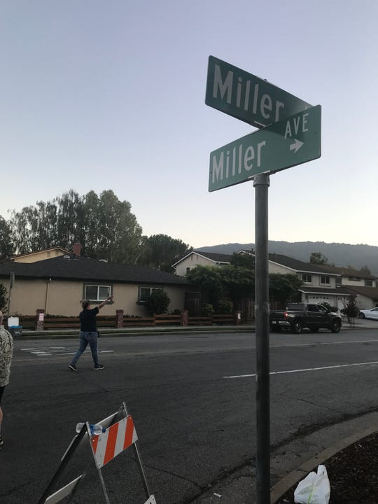 Roads are blocked at Miller Avenue as Gilroy police and sheriff's deputies investigate an active shooter incident at the Gilroy Garlic Festival.