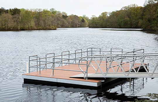 Unicorn Lake Fisheries Management Area is seen in Crumpton, Maryland, now has a fishing platform accessible by an American Disabilities Act-compliant ramp which was installed in 2018.