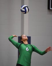 Miller senior Kadye Fernholz serves the ball during the Summer Slam Invite on Monday, July 29, at the Sanford Pentagon.