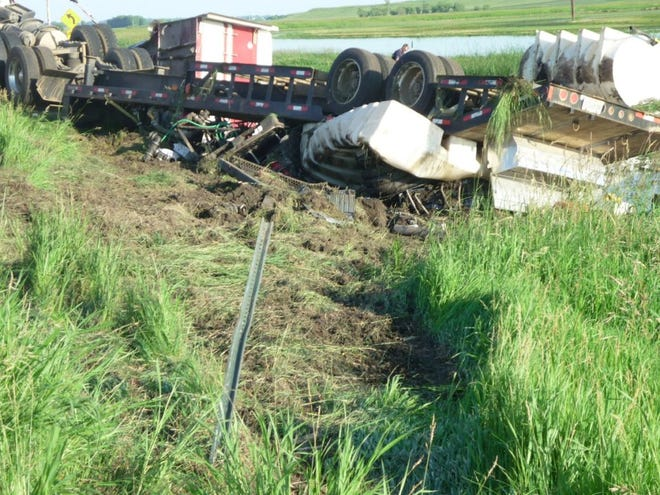A semi truck carrying a flatbed loaded with agricultural herbicides rolled off a road in Hamlin County near Estelline on June 26, sending up to 900 gallons of chemicals into the adjacent Big Sioux River. The driver was not injured in the wreck.