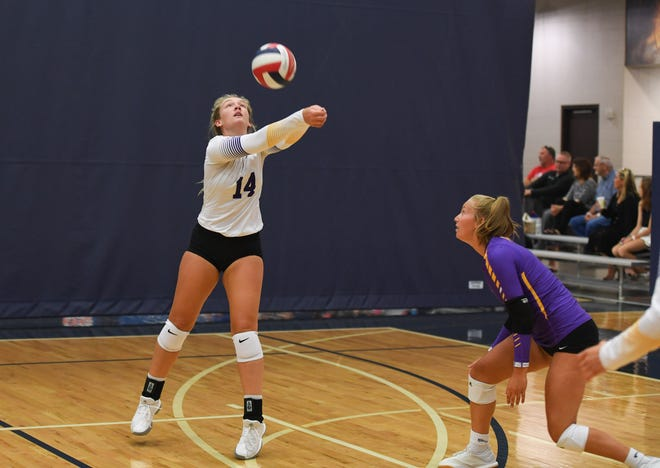 Alexx Bayles of Watertown High School bumps the ball during the game against Western Christian High School, Monday, July 29, at the Sanford Pentagon.