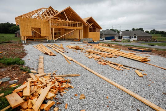 A new home is under construction at the intersection of Wild Horse Drive and Grindstone Avenue in the Wild Horse Subdivision just east of Springfield, Missouri, on Monday, July 29, 2019.