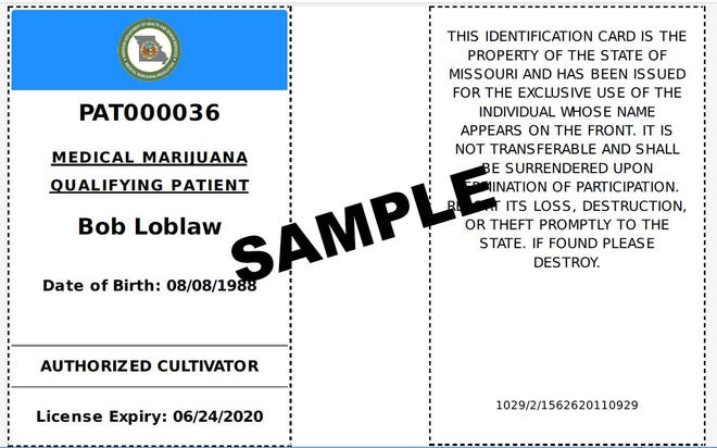 A sample of what a Missouri qualifying medical marijuana ID card with a homegrowing authorization looks like.  In the first month of the program, Missouri approved more than 4,000 patient applications. State officials began accepting them June 28, 2019.