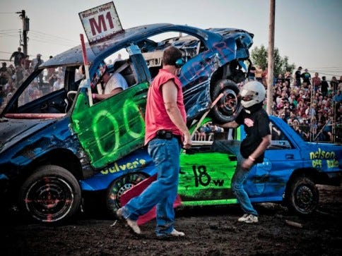 The demolition derby runs for three nights at the Stearns County Fair.
