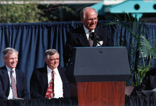 John Robert Schrieffer, right, with Gov. Lawton Chiles and Lt. Gov. Buddy McKay at the October 1994 dedication of the MagLab at Florida State.