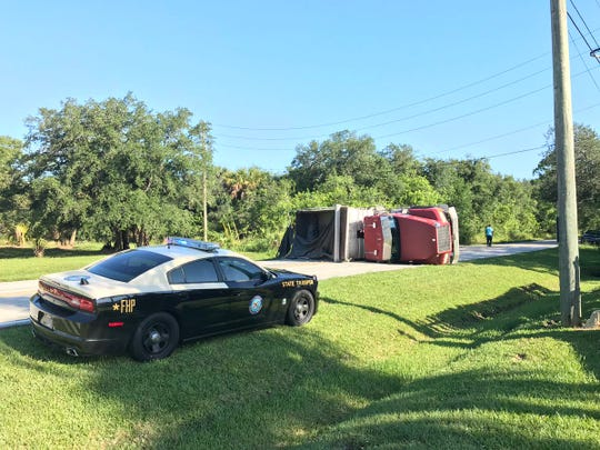 A dump truck overturned on 24th Street and 82nd Avenue in Indian River County.