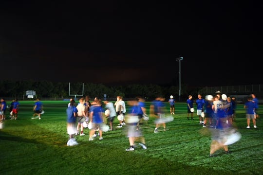 "To get the earliest possible start to the 2019 football season, Sebastian River High School held a midnight practice on Monday, July 29, 2019 under the stadium lights. ""We've got 62 here,"" said head football coach Tony Perry. ""That means a lot to our program, that we have 62 guys to say that this was important."""