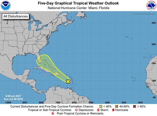 National Hurricane Center monitoring tropical wave moving through the Caribbean, 8 p.m., Sunday, July 28, 2019.
