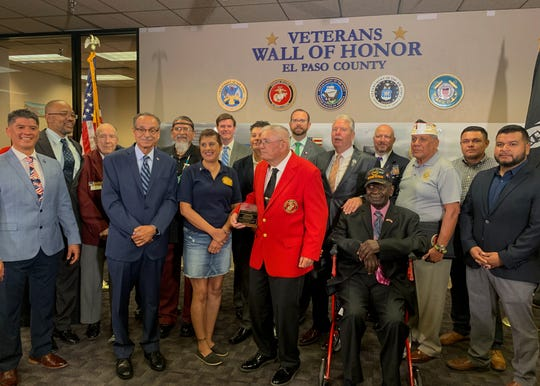 The Veterans Wall of Honor was revealed at the El Paso County Courthouse Monday, July, 22, 2019. A representative from the Marine Corps League, received the award for Veteran of the Year in place of Sergeant Major Robert D. Way who was unable to attend.