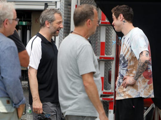 Director Judd Apatow and actor Pete  Davidson on set while shooting their new untitled comedy film July 29, 2019 in Yonkers.