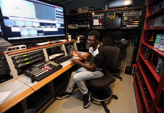 Noe DeFranc, 17, talks about his summer job as a production assistant at White Plains Cable Television, in the control room July 25, 2019 in White Plains. DeFranc will be a senior at White Plains High School in September and has plans to study electrical engineering in college.