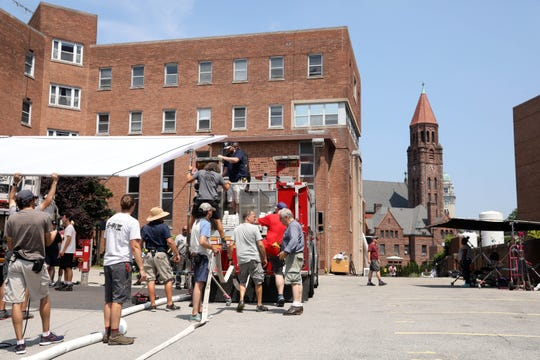 The crew prepares to shoot a scene for Judd Apatow's latest film with actor Pete Davidson in Yonkers July 29, 2019.