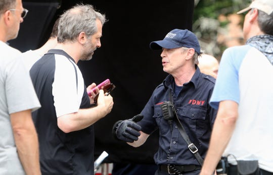 Director Judd Apatow chats with actor Steve Buscemi before shooting a scene for their untitled comedy July 29, 2019 in Yonkers.