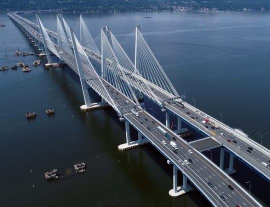 Drone photo of the Mario Cuomo Bridge over the Hudson River between Nyack and Tarrytown July 26, 2019.