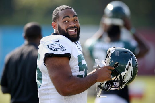 Defensive end Brandon Graham laughs during Eagles training camp at the NovaCare Complex in South Philadelphia on Saturday, July 27, 2019.