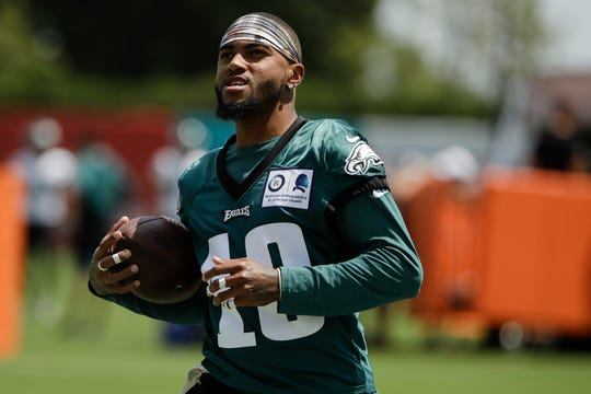 Philadelphia Eagles wide receiver DeSean Jackson in action during practice at the NFL football team's training camp in Philadelphia, Thursday, July 25, 2019.