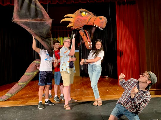 "Dragon (Angelica Concepcion) and Donkey (Andrew Morrow) in ""Shrek, The Musica,l"" the 72ndFirst United Methodist Church Summer Youth Musical."