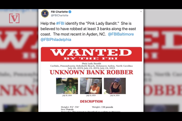 'Pink Lady Bandit' wanted by FBI for 3 bank robberies along east coast
