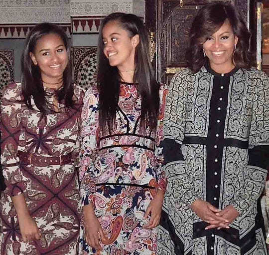 Sasha, Malia and then-first lady Michelle Obama at the King Palace's in Marrakech, Morocco, on June 28, 2016.