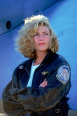 "Kelly McGillis in a scene from the 1986 movie ""Top Gun."""