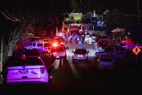 Police vehicles arrive on the scene of the investigation following a deadly shooting at the Gilroy Garlic Festival in Gilroy, 80 miles south of San Francisco, Calif. on July 28, 2019.