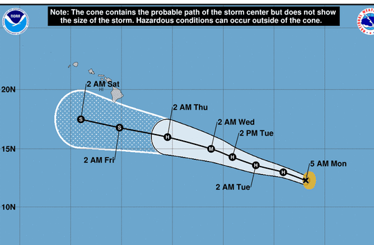 The forecast track of Erick, which should slide south of Hawaii by the end of the week.