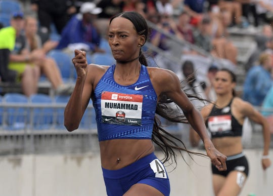 Dalilah Muhammad ran a time of  52.20 seconds Sunday in the 400-meter hurdles.