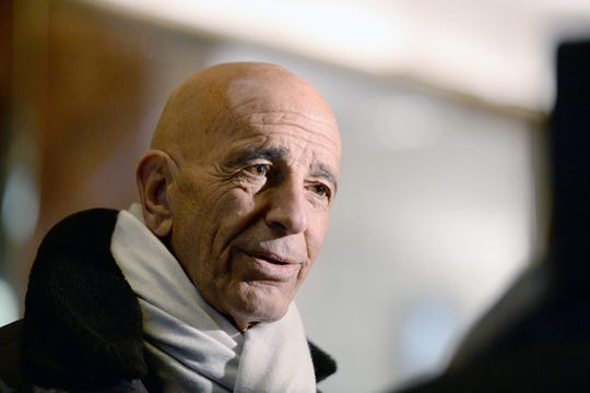 Chairman of the Inaugural Committee and real estate investor Thomas J. Barrack Jr. stops to talk to members of the media in the lobby of the Trump Tower in New York, New York, USA, 10 January  2017. US President-elect Donald Trump will be sworn in as the US President 20 January 2017.